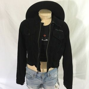 Harley Davidson corduroy crop full zip moto jacket
